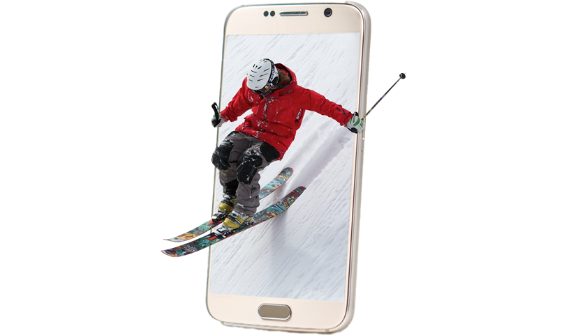 Skier coming out a phone
